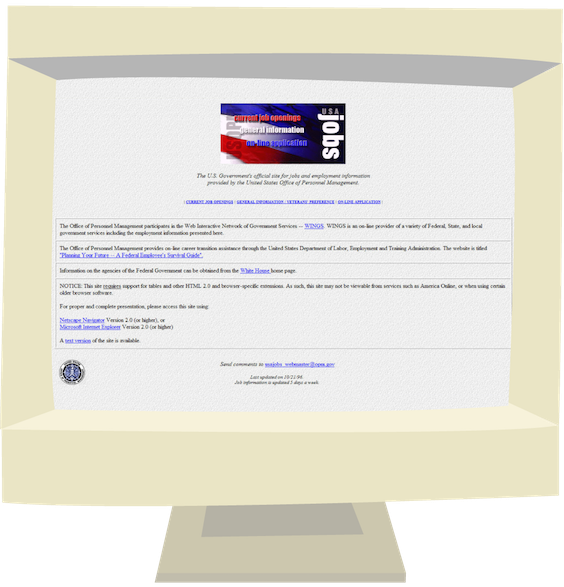 Screenshot of USAJOBS home page in 1996