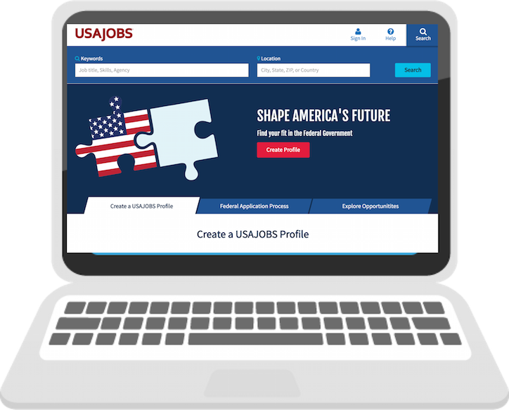 Screenshot of USAJOBS home page in 2016